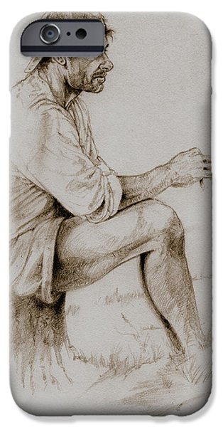 Contemplative Drawings iPhone Cases - Repose iPhone Case by Derrick Higgins