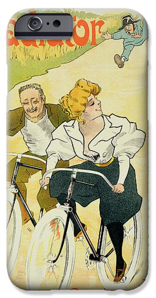 Couple Drawings iPhone Cases - Reproduction of a poster advertising Gladiator Cycles iPhone Case by Ferdinand Misti Mifliez