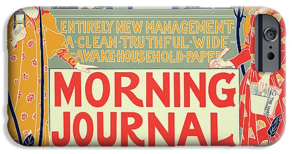 Art Nouveau Style iPhone Cases - Reproduction of a poster advertising the Morning Journal iPhone Case by Louis John Rhead