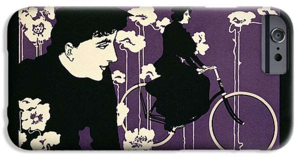 Graphic Design iPhone Cases - Reproduction of a poster advertising Victor Bicycles iPhone Case by American School