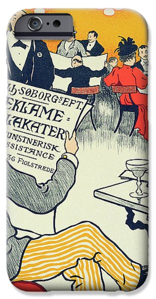 Waiter Drawings iPhone Cases - Reproduction of a poster advertising Wilhelm Soborg iPhone Case by Paul Fischer