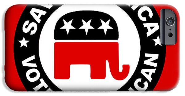 Tea Party Drawings iPhone Cases - Republican iPhone Case by Bern Hopkins