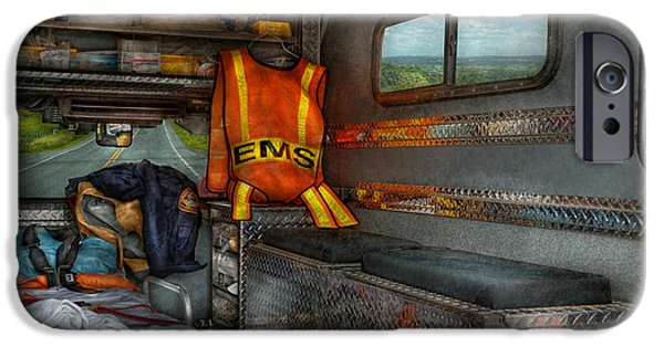 Suburbanscenes iPhone Cases - Rescue - Emergency Squad  iPhone Case by Mike Savad