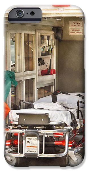 Interior Scene iPhone Cases - Rescue - Inside the Ambulance iPhone Case by Mike Savad