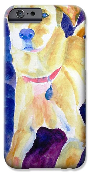 Mixed Labrador Retriever iPhone Cases - Rescue Lab - dog painting iPhone Case by Carlin Blahnik