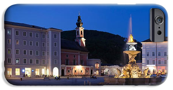 Salzburg iPhone Cases - Residenz Fountain And Michaeliskirche iPhone Case by Panoramic Images