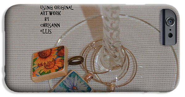 Food And Beverage Jewelry iPhone Cases - Resin Wine Glass Charms Using Artwork by Chrisann Ellis iPhone Case by Carla Parris