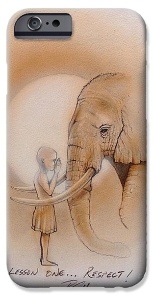 Young Paintings iPhone Cases - Respect iPhone Case by Bill Shelton