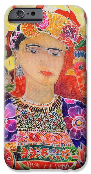 Painter Photographs iPhone Cases - Respects To Frida Kahlo, 2002 Coloured Ink On Silk iPhone Case by Hilary Simon