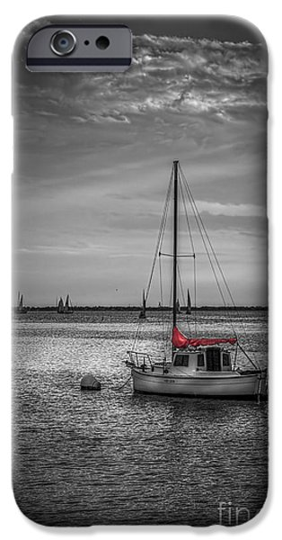 Sailboat Photographs iPhone Cases - Rest Day b/w iPhone Case by Marvin Spates
