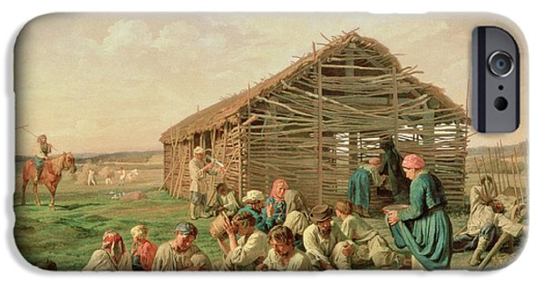 Broken iPhone Cases - Rest During Haying, 1861 Oil On Canvas iPhone Case by Aleksandr Ivanovich Morozov