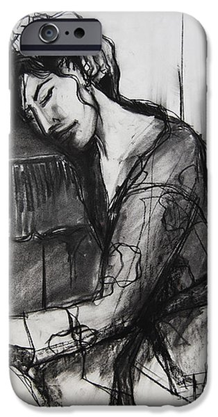 Model Drawings iPhone Cases - Rest - Pia #8 - figure series iPhone Case by Mona Edulesco