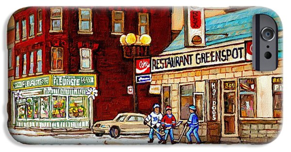 Restaurant Greenspot iPhone Cases - Restaurant Greenspot And Coin Vert Boutique Fleuriste Montreal Winter Street Hockey Scenes iPhone Case by Carole Spandau