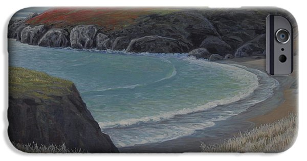 Beach Landscape Paintings iPhone Cases - Restful Cove iPhone Case by James English Babcock