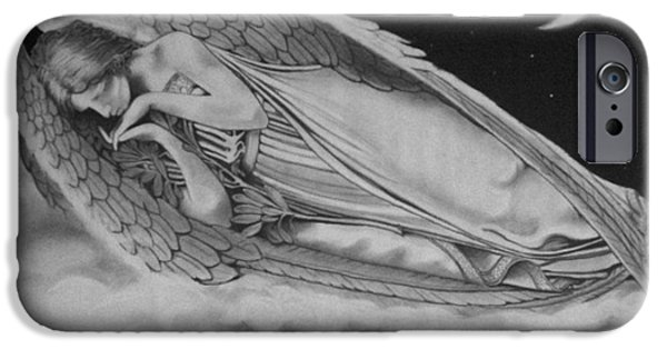 Night Angel Drawings iPhone Cases - Resting Angel iPhone Case by Mark Shynk