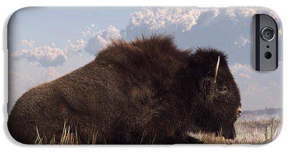 Bison Art iPhone Cases - Resting Bison iPhone Case by Daniel Eskridge