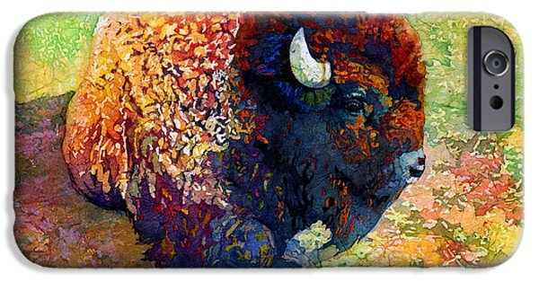 Bison iPhone Cases - Resting Bison iPhone Case by Hailey E Herrera