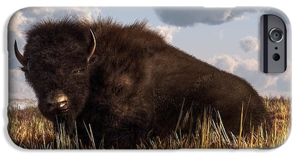 Bison Art iPhone Cases - Resting Buffalo iPhone Case by Daniel Eskridge