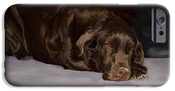 Chocolate Lab Digital Art iPhone Cases - Resting chocolate lab iPhone Case by Debra Baldwin