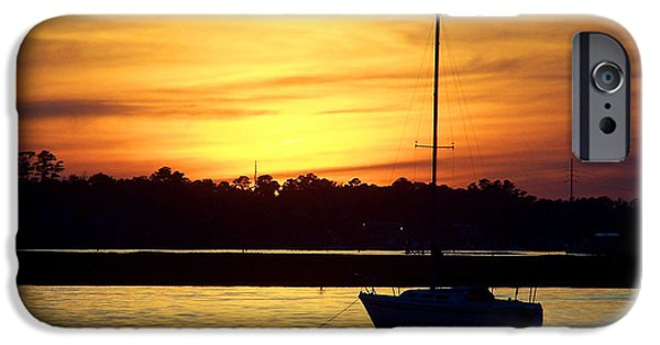 Sailboats iPhone Cases - Resting In A Mango Sunset iPhone Case by Sandi OReilly