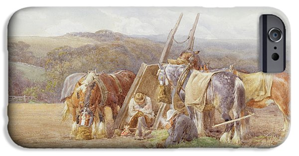 The Horse iPhone Cases - Resting in the Field  iPhone Case by Charles James Adams