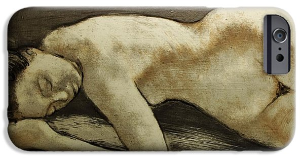 Paint Glass Art iPhone Cases - Resting iPhone Case by Marian Berg