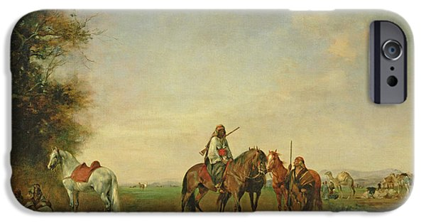 Orientalists Photographs iPhone Cases - Resting Place Of The Arab Horsemen On The Plain, 1870 iPhone Case by Eugene Fromentin