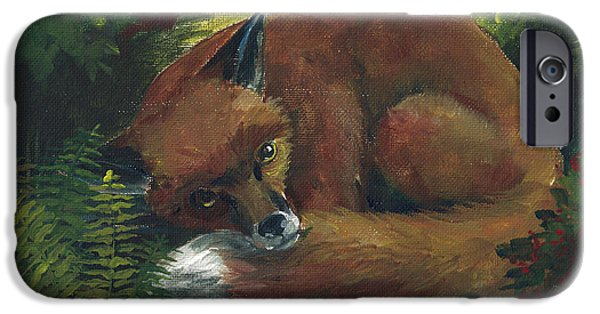 Llmartin iPhone Cases - Resting Red Fox iPhone Case by Linda L Martin