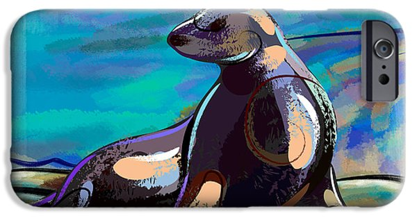 Young Mixed Media iPhone Cases - Resting Seal iPhone Case by Bedros Awak