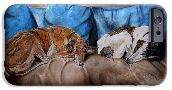 Greyhound iPhone Cases - Resting Time iPhone Case by Dorota Kudyba