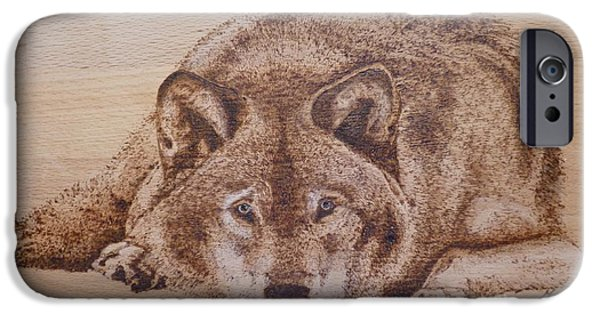 Wild Animals Pyrography iPhone Cases - Resting wolf iPhone Case by Manon  Massari