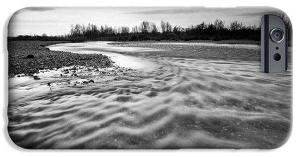 Grayscale iPhone Cases - Restless river III iPhone Case by Davorin Mance