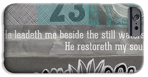 Psalm iPhone Cases - Restoreth My Soul- Contemporary Christian art iPhone Case by Linda Woods