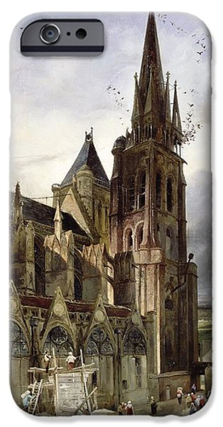Basilica iPhone Cases - Restoring The Abbey Church Of St. Denis In 1833 Oil On Canvas iPhone Case by Adrien Dauzats