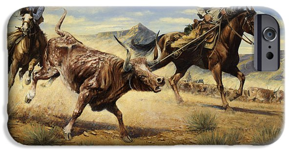 Steer Paintings iPhone Cases - Restraint 2 Cowboys Roping a Steer iPhone Case by Don  Langeneckert