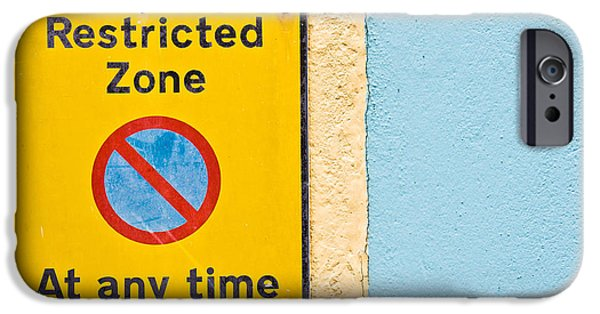 Regulations iPhone Cases - Restricted zone iPhone Case by Tom Gowanlock