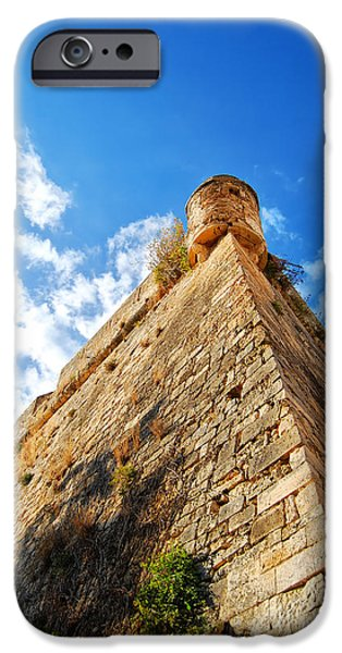 Port Town iPhone Cases - Rethymnon fort 01 iPhone Case by Antony McAulay