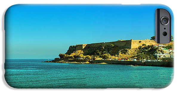 Port Town iPhone Cases - Rethymnon fort panorama 02 iPhone Case by Antony McAulay
