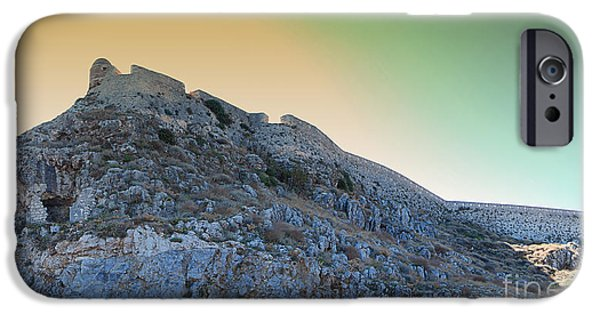Port Town iPhone Cases - Rethymnon fort panorama iPhone Case by Antony McAulay