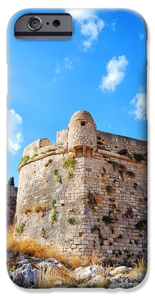 Port Town iPhone Cases - Rethymnon fort portrait iPhone Case by Antony McAulay