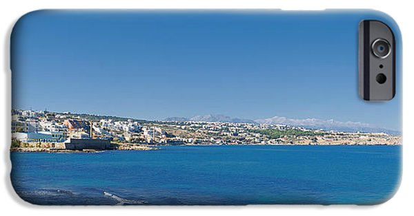 Port Town iPhone Cases - Rethymnon panorama iPhone Case by Antony McAulay