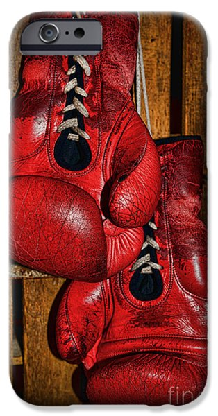 Boxer iPhone Cases - Retired Boxing Gloves iPhone Case by Paul Ward