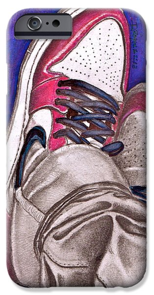 Nike Drawings iPhone Cases - Retro 1.2 iPhone Case by Dallas Roquemore