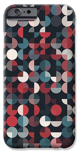 Retro iPhone Cases - Retro Geometric Circle Pie Vertical Pattern iPhone Case by Frank Ramspott