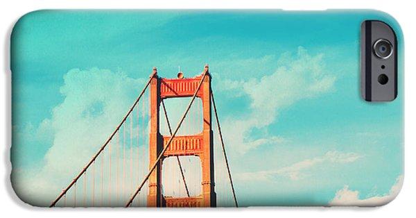 Golden Gate iPhone Cases - Retro Golden Gate - San Francisco iPhone Case by Melanie Alexandra Price