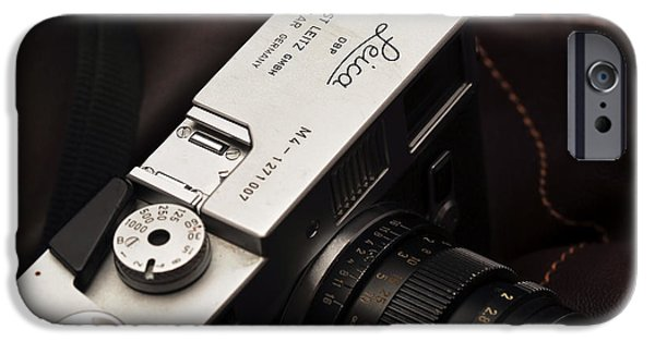 Rangefinder iPhone Cases - Retro Leica M4 iPhone Case by John Rizzuto