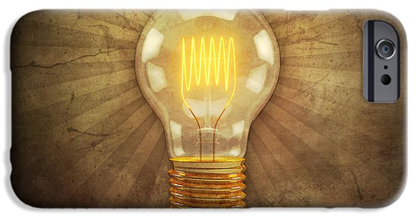 Animation iPhone Cases - Retro Light Bulb iPhone Case by Scott Norris