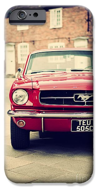 Mustang Horse iPhone Cases - Retro Mustang iPhone Case by Tim Gainey