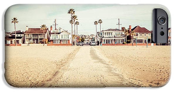 11th iPhone Cases - Retro Newport Beach Panorama at 11th Street and Balboa iPhone Case by Paul Velgos