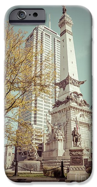 Indiana Photography iPhone Cases - Retro Picture of Indianapolis Soldiers and Sailors Monument  iPhone Case by Paul Velgos